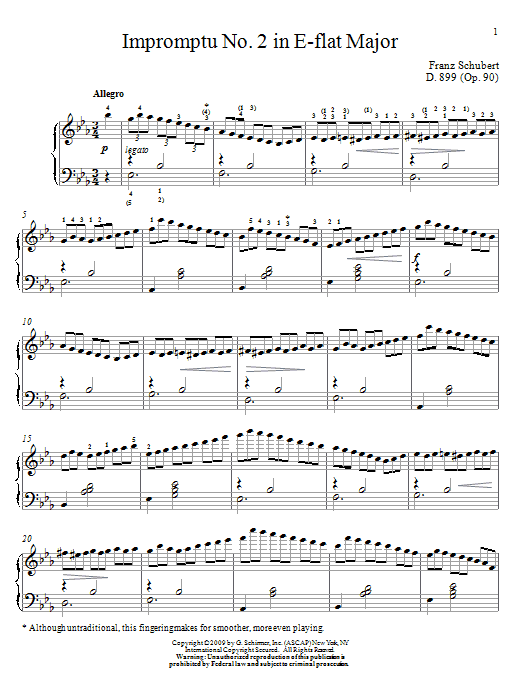 Franz Schubert Impromptu No. 2 In E-Flat Major sheet music notes and chords. Download Printable PDF.