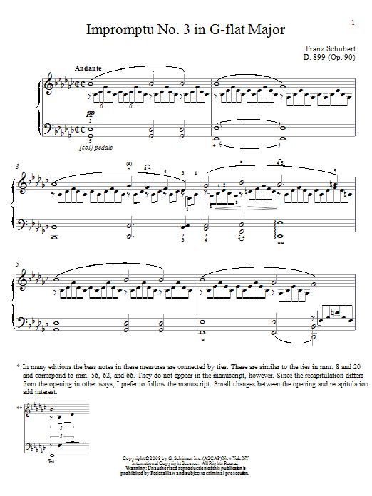 Franz Schubert Impromptu No. 3 In G-Flat Major sheet music notes and chords. Download Printable PDF.