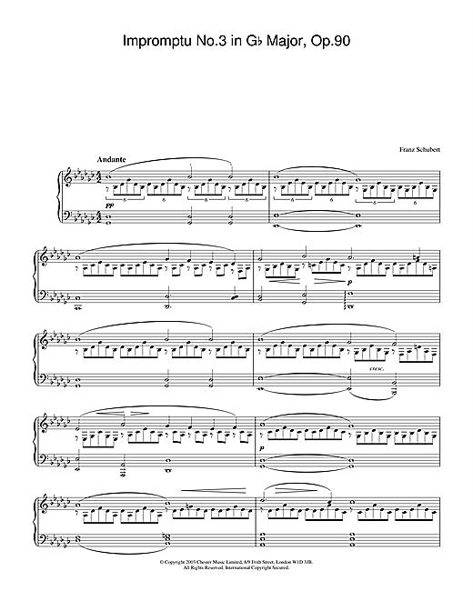 Franz Schubert Impromptu No. 3 in G Flat Major, Op.90 sheet music notes and chords