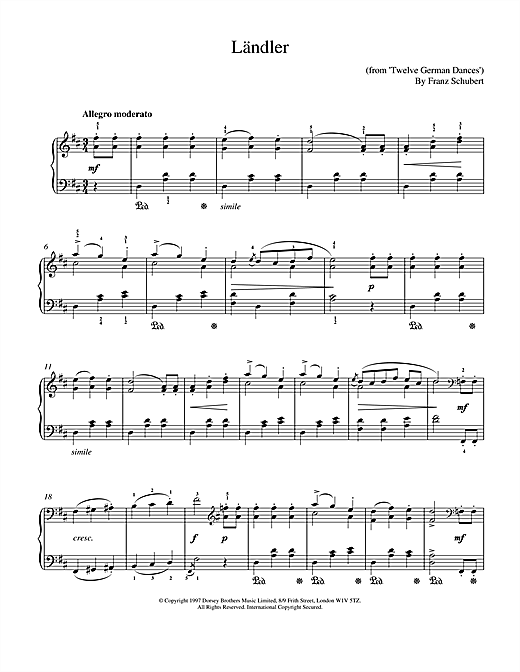 Franz Schubert Landler sheet music notes and chords. Download Printable PDF.