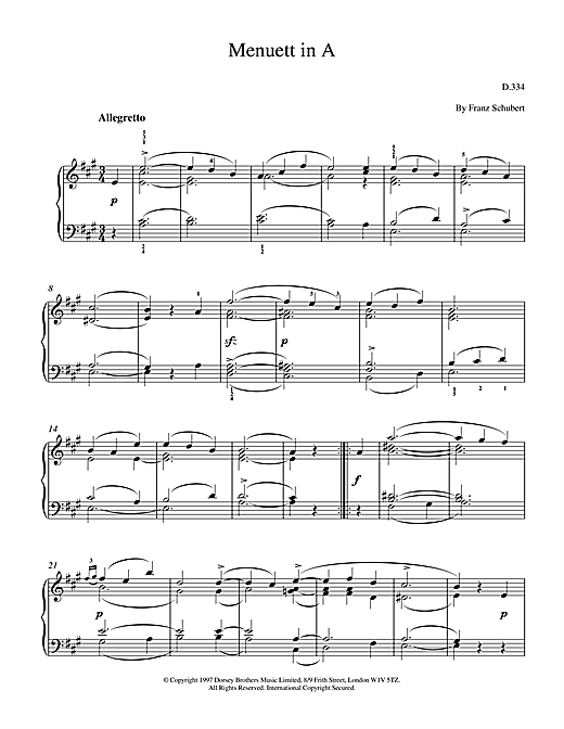 Franz Schubert Menuett In A sheet music notes and chords. Download Printable PDF.