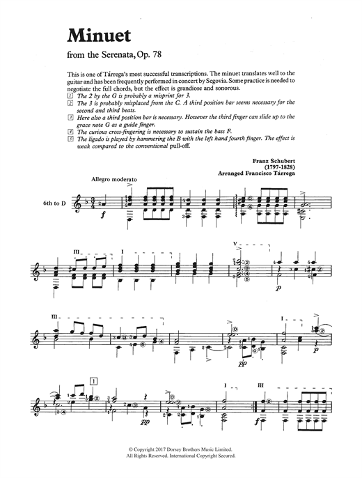Franz Schubert Minuet (from the Serenata, Op. 78) sheet music notes and chords. Download Printable PDF.