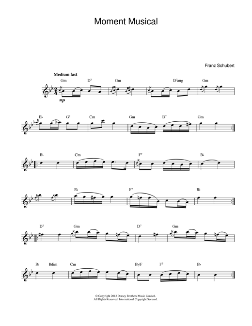 Franz Schubert Moments Musicaux, No.3, Op.94 sheet music notes and chords