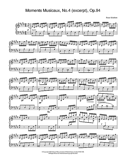 Franz Schubert Moments Musicaux, No.4 (excerpt), Op.94 sheet music notes and chords