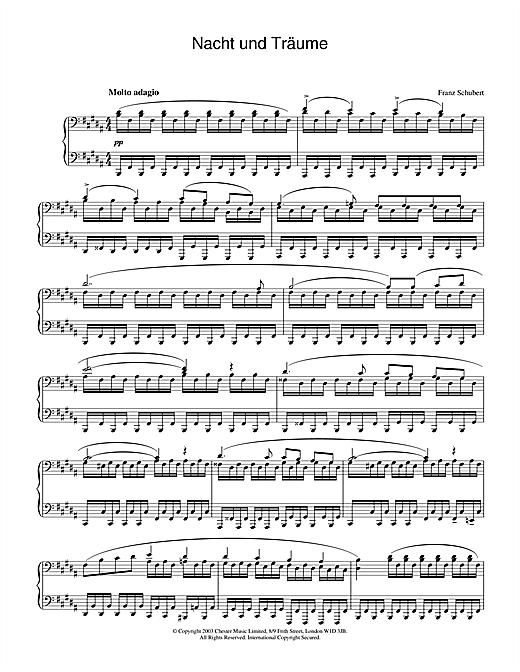 Franz Schubert Nacht und Träume D.827 sheet music notes and chords. Download Printable PDF.