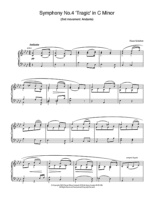 Franz Schubert Symphony No.4 'Tragic' in C Minor - 2nd Movement: Andante sheet music notes and chords. Download Printable PDF.