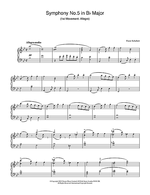 Franz Schubert Symphony No.5 in B Flat Major - 1st Movement: Allegro sheet music notes and chords. Download Printable PDF.