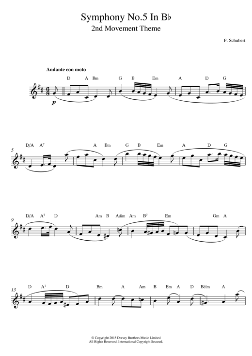 Franz Schubert Symphony No.5 in B Flat Major - 2nd Movement: Andante con moto sheet music notes and chords