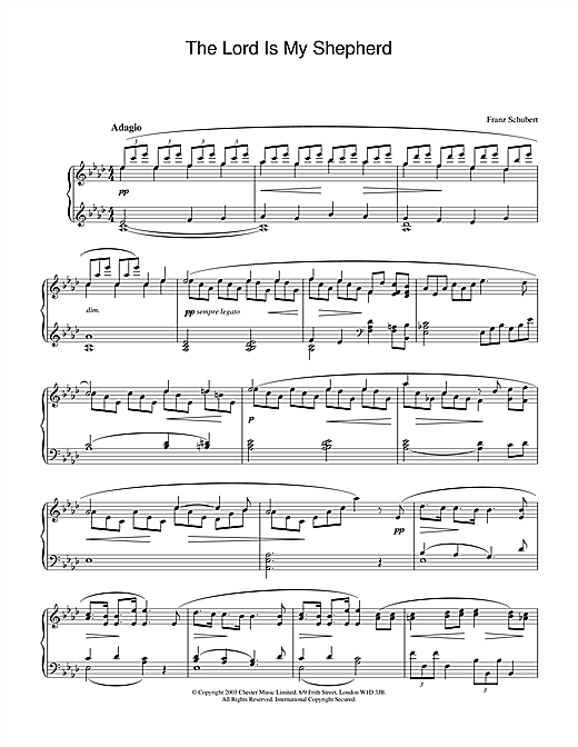 Franz Schubert The Lord Is My Shepherd sheet music notes and chords