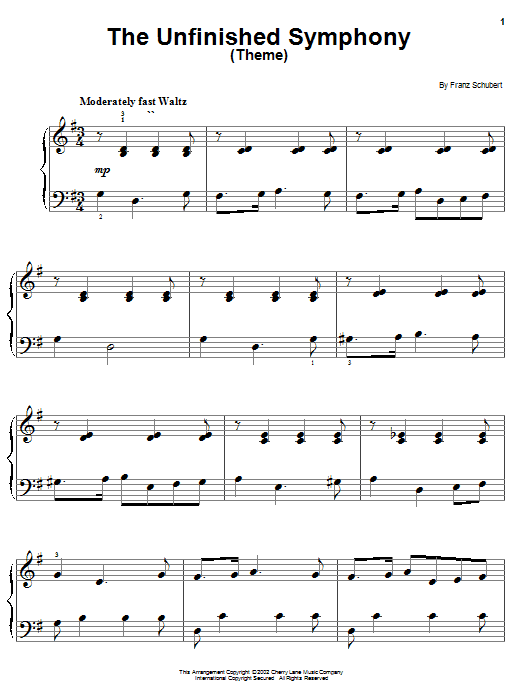 Franz Schubert The Unfinished Symphony (Theme) sheet music notes and chords. Download Printable PDF.