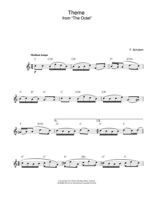 Franz Schubert Theme From The Octet sheet music notes and chords
