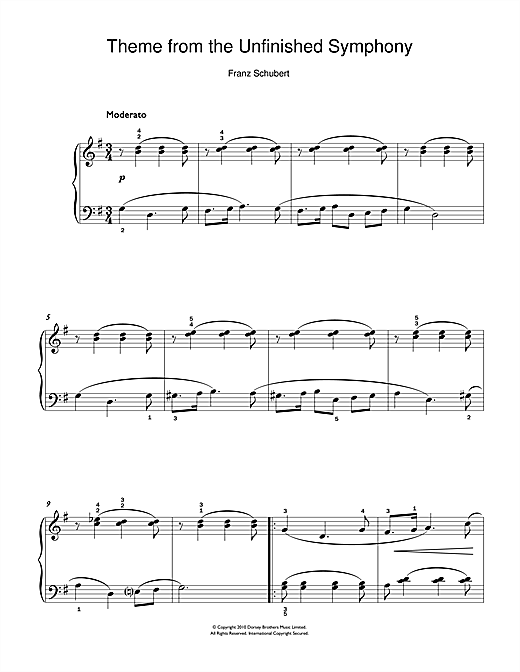 Franz Schubert Theme From The Unfinished Symphony sheet music notes and chords. Download Printable PDF.