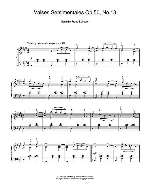 Franz Schubert Valses Sentimentales, Op.50 No.13 sheet music notes and chords. Download Printable PDF.