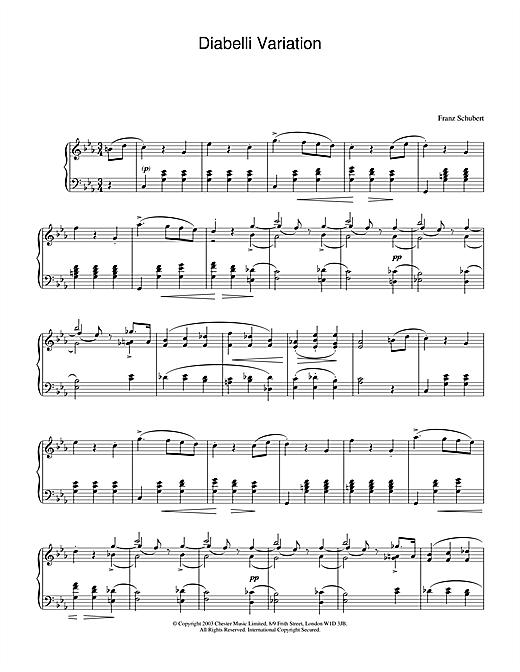 Franz Schubert Variation on a Waltz by Diabelli, D.718 sheet music notes and chords