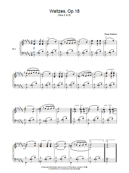 Franz Schubert Waltzes Op.18, No.2 & No.6 sheet music notes and chords. Download Printable PDF.