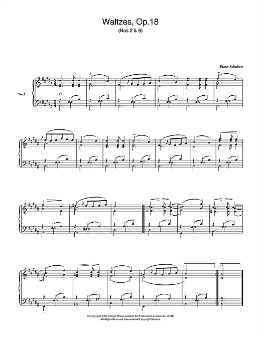 Franz Schubert Waltzes Op.18, No.2 & No.6 sheet music notes and chords