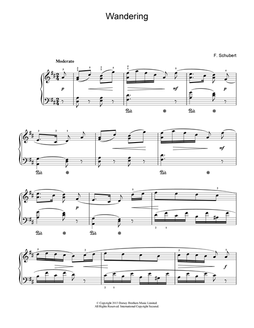 Franz Schubert Wandering sheet music notes and chords