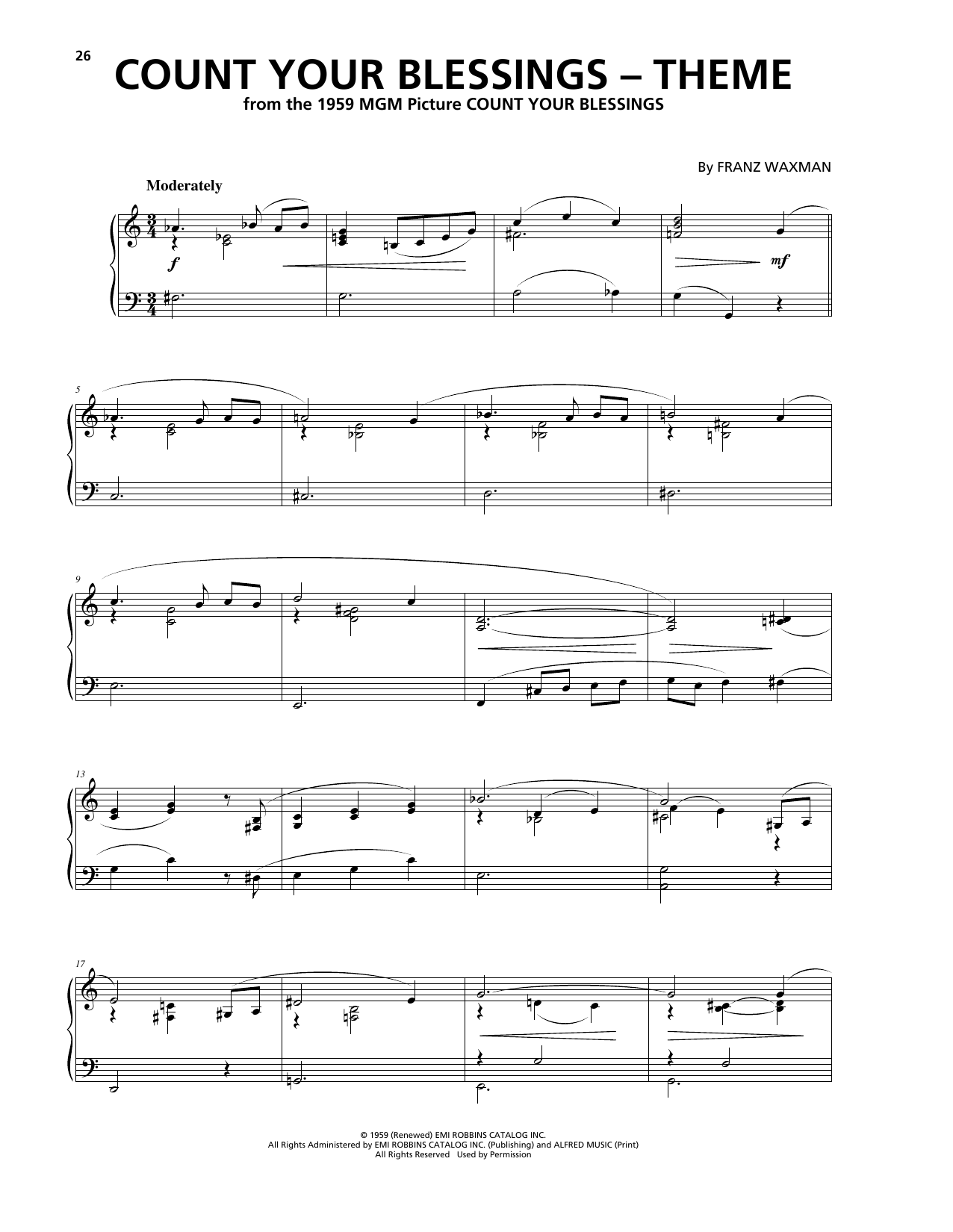 Franz Waxman Count Your Blessings (Theme) sheet music notes and chords. Download Printable PDF.