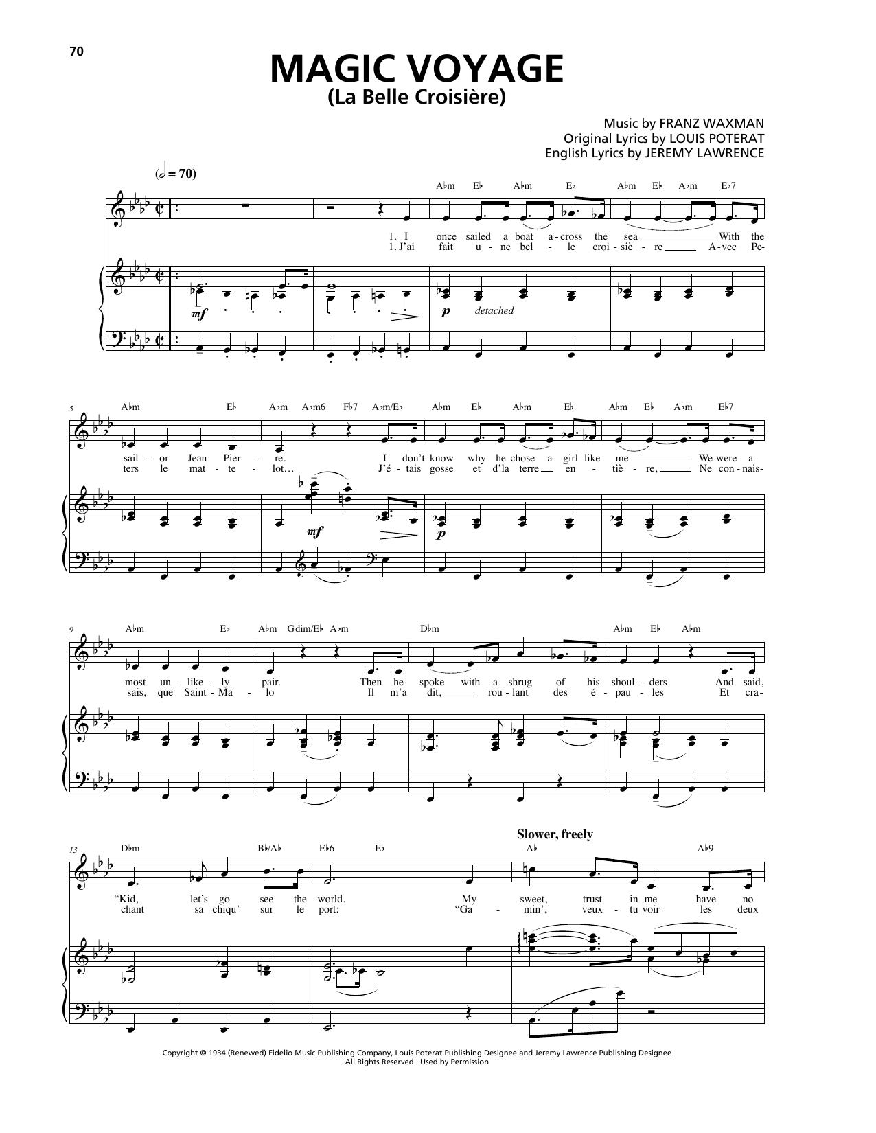 Franz Waxman Magic Voyage (La Belle Croisière) sheet music notes and chords. Download Printable PDF.