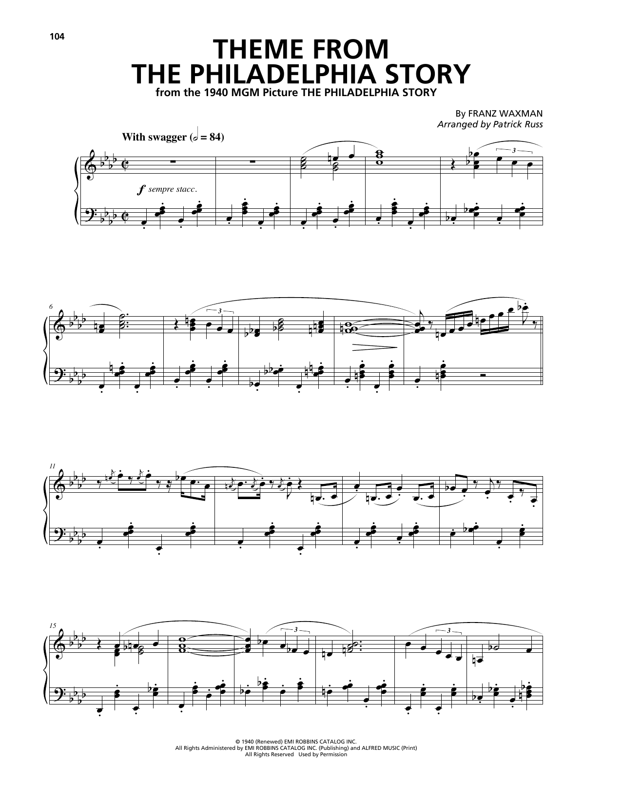 Franz Waxman Theme From The Philadelphia Story sheet music notes and chords. Download Printable PDF.