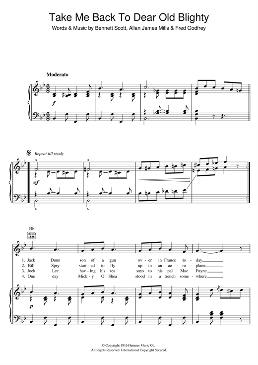 Fred Godfrey Take Me Back To Dear Old Blighty sheet music notes and chords. Download Printable PDF.