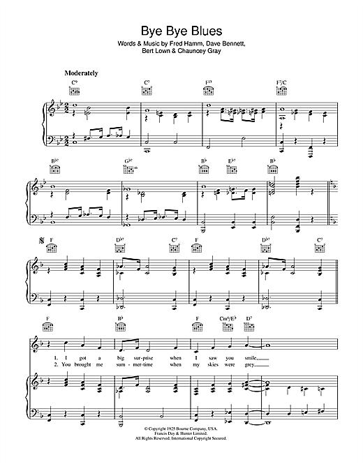 Bert Lowe Bye Bye Blues sheet music notes and chords. Download Printable PDF.
