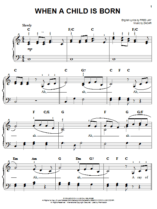 Fred Jay When A Child Is Born sheet music notes and chords. Download Printable PDF.