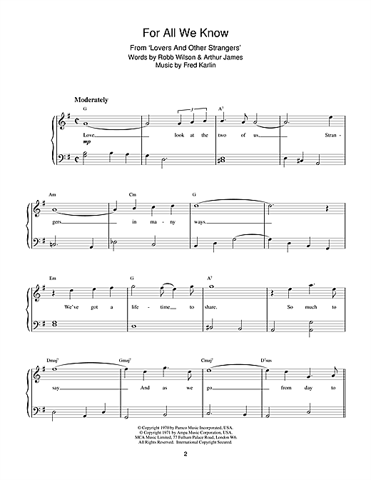 Fred Karlin For All We Know sheet music notes and chords