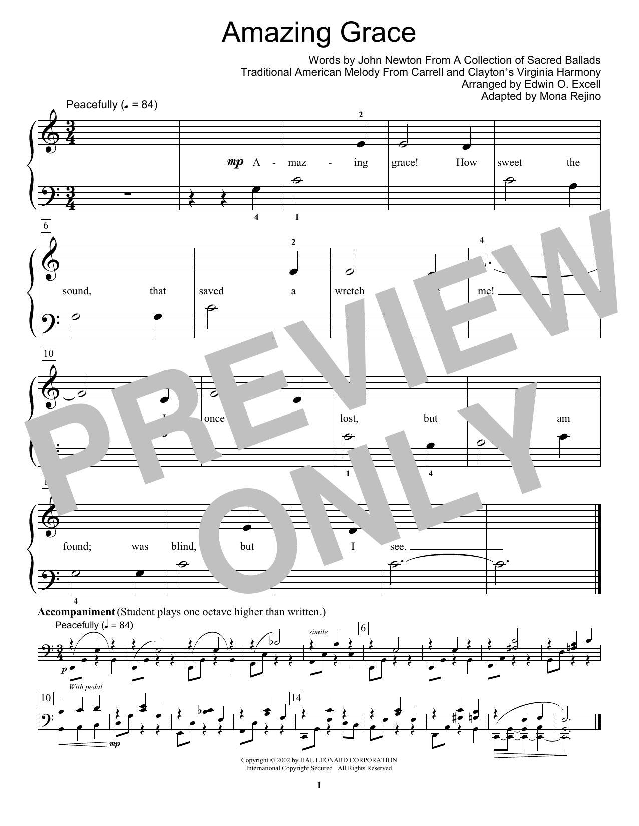 Fred Kern Amazing Grace sheet music notes and chords