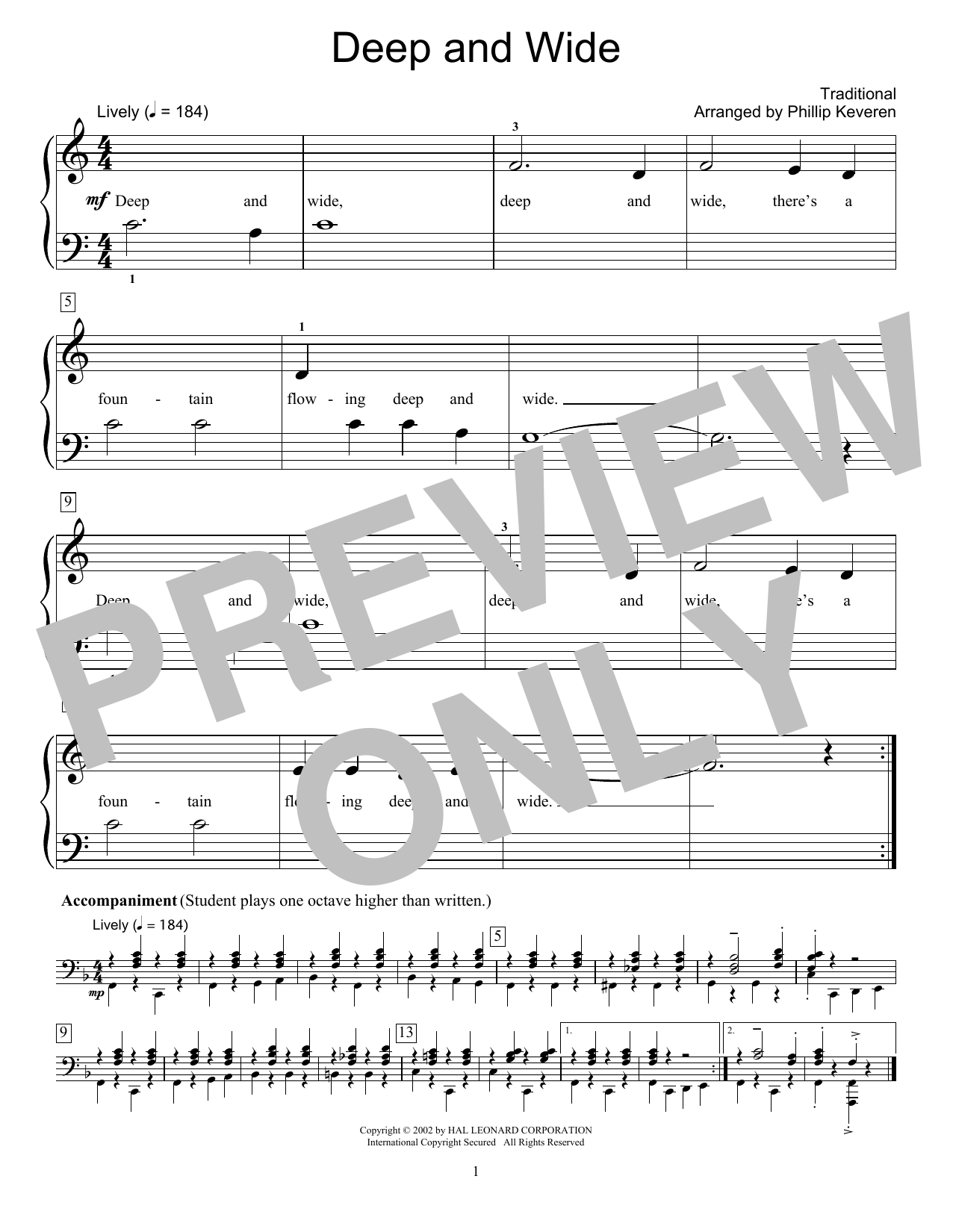 Fred Kern Deep And Wide Sheet Music Notes, Chords   Download Printable  Educational Piano PDF Score   SKU 15