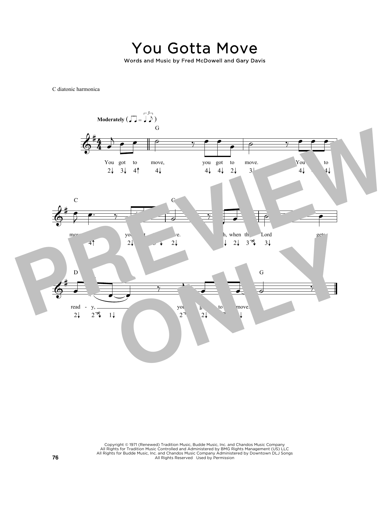 Fred McDowell You Gotta Move sheet music notes and chords. Download Printable PDF.