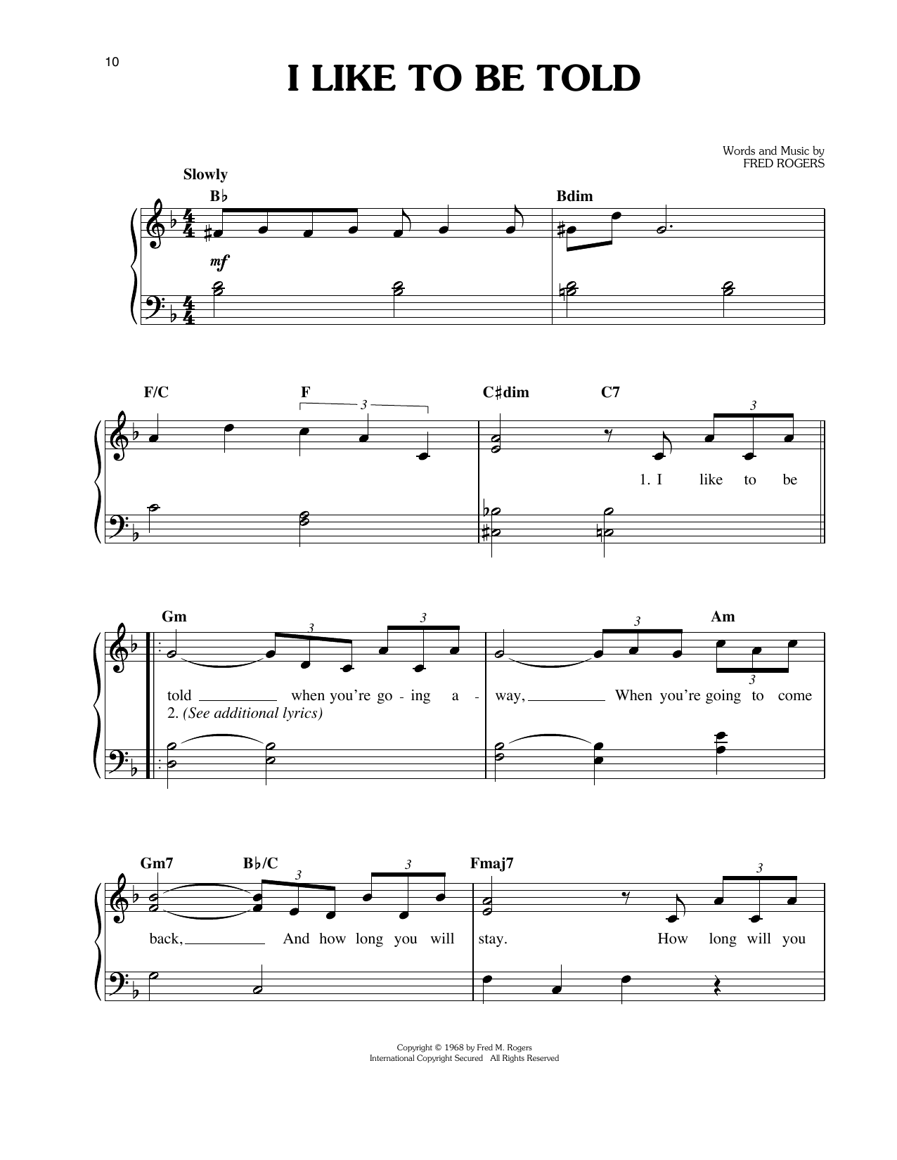 Fred Rogers I Like To Be Told sheet music notes and chords. Download Printable PDF.
