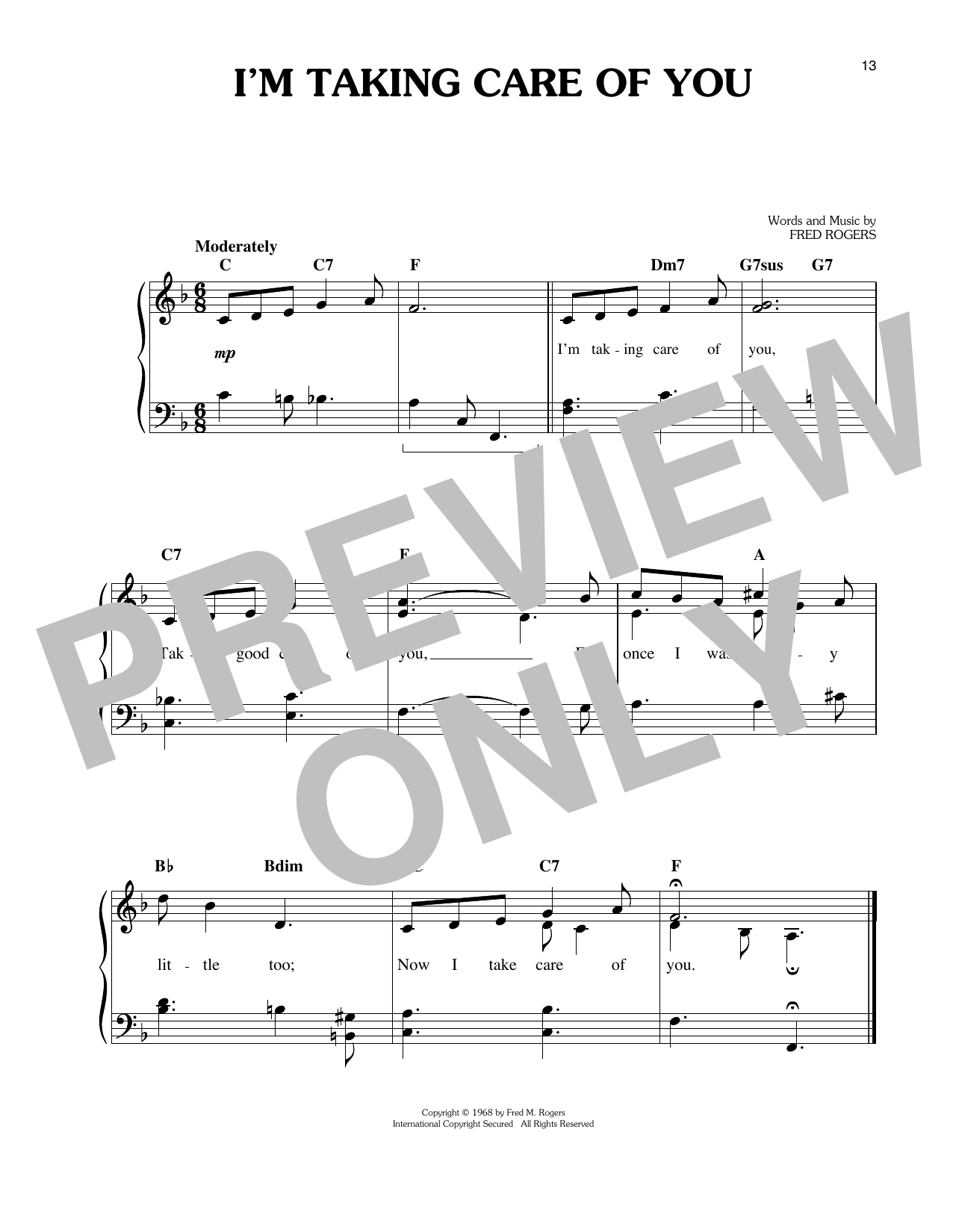 Fred Rogers I'm Taking Care Of You sheet music notes and chords