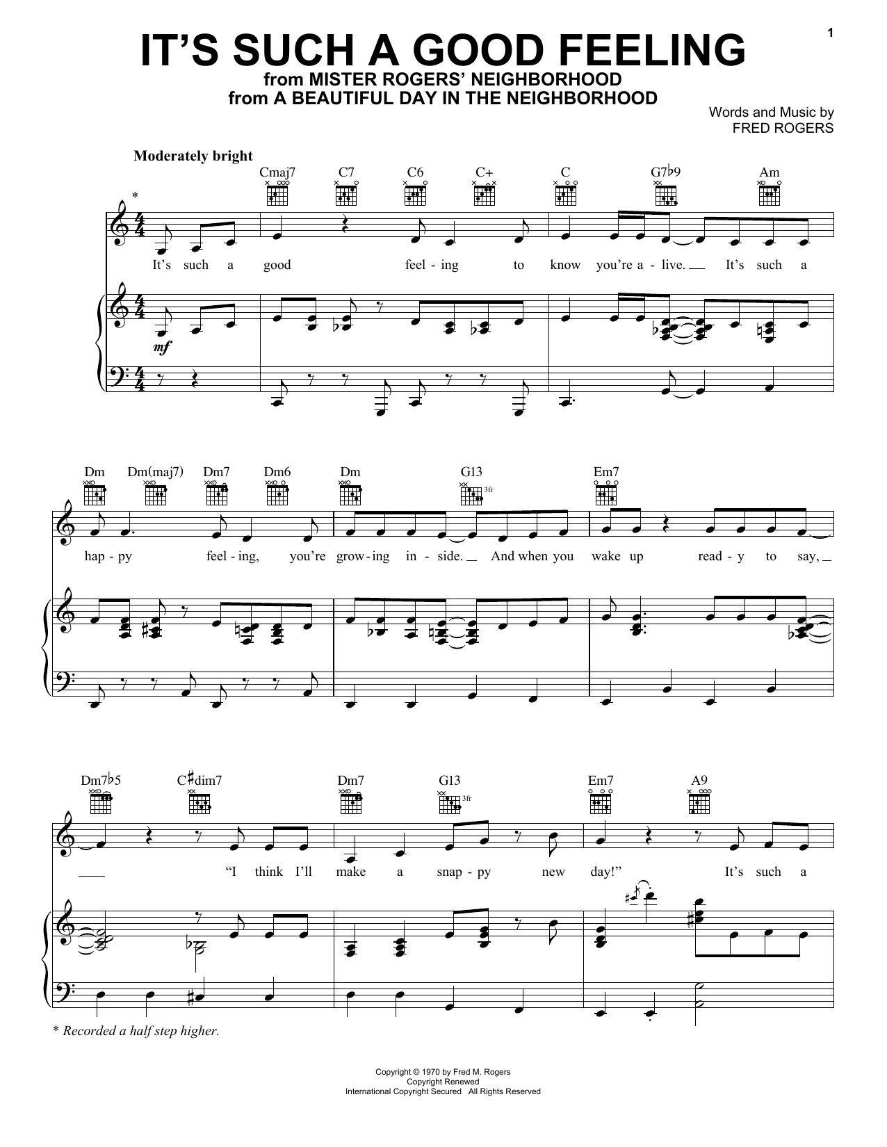 Fred Rogers It S Such A Good Feeling From A Beautiful Day In The Neighborhood Sheet Music Pdf Notes Chords Children Score Piano Vocal Guitar Right Hand Melody Download Printable Sku 253546