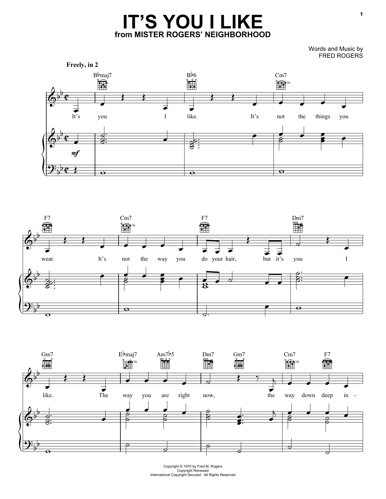 Fred Rogers It S You I Like Sheet Music Pdf Notes Chords Children Score Piano Vocal Guitar Right Hand Melody Download Printable Sku 253545