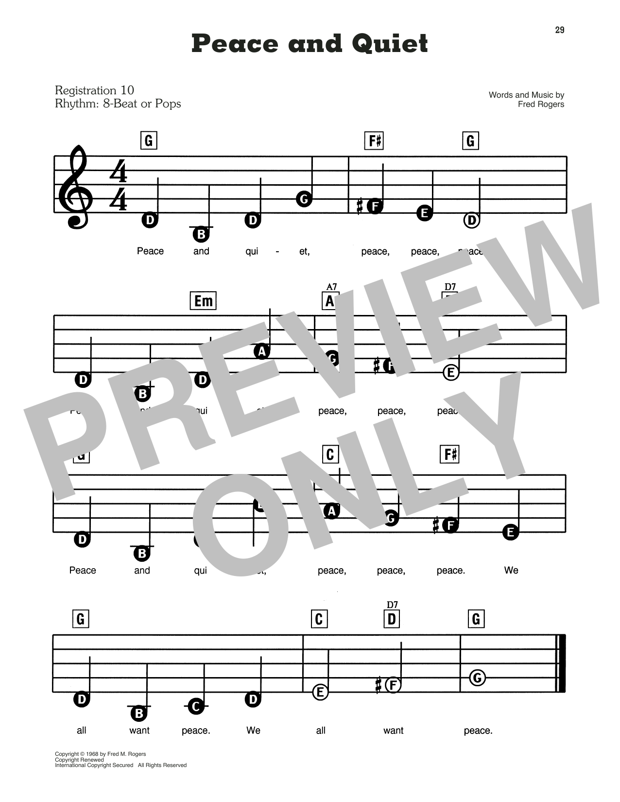 Fred Rogers Peace And Quiet From Mister Rogers Neighborhood Sheet Music Pdf Notes Chords Children Score E Z Play Today Download Printable Sku 431315