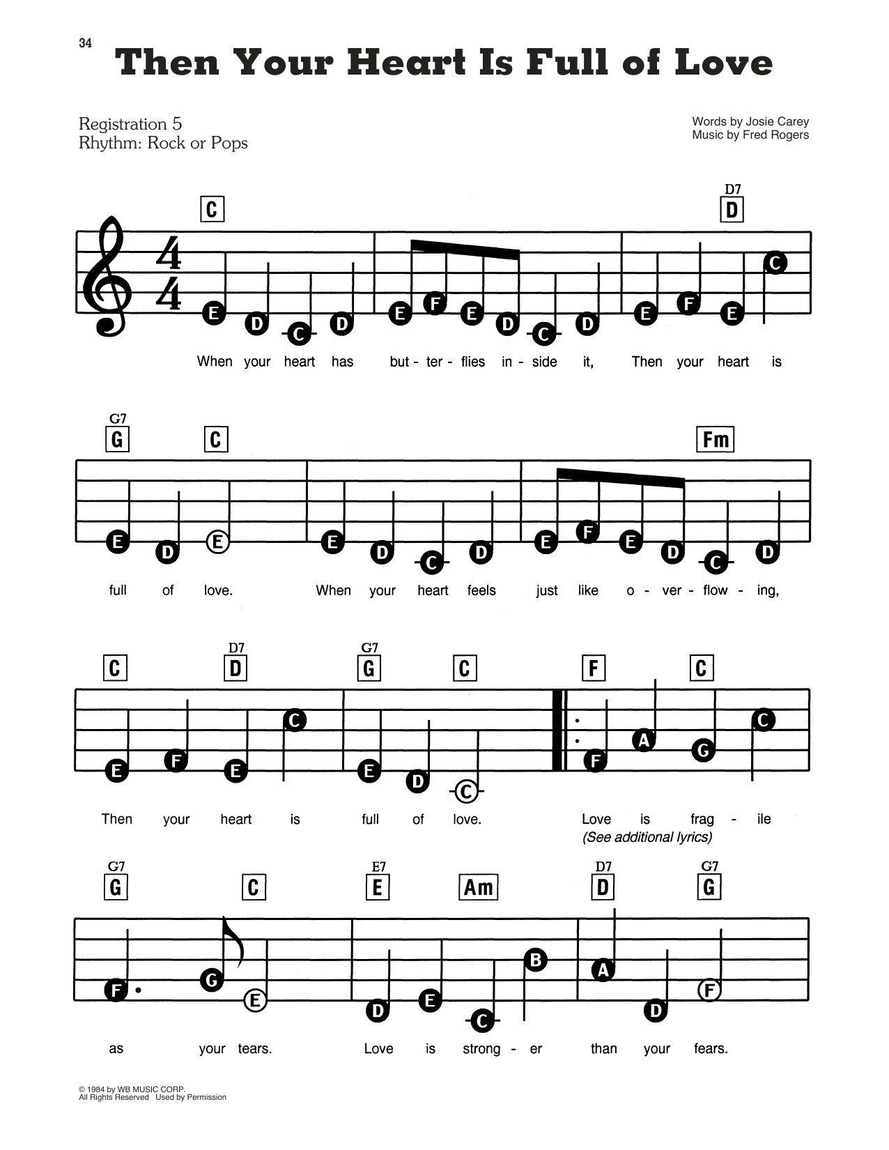 Fred Rogers Then Your Heart Is Full Of Love From Mister Rogers Neighborhood Sheet Music Pdf Notes Chords Children Score E Z Play Today Download Printable Sku 431291