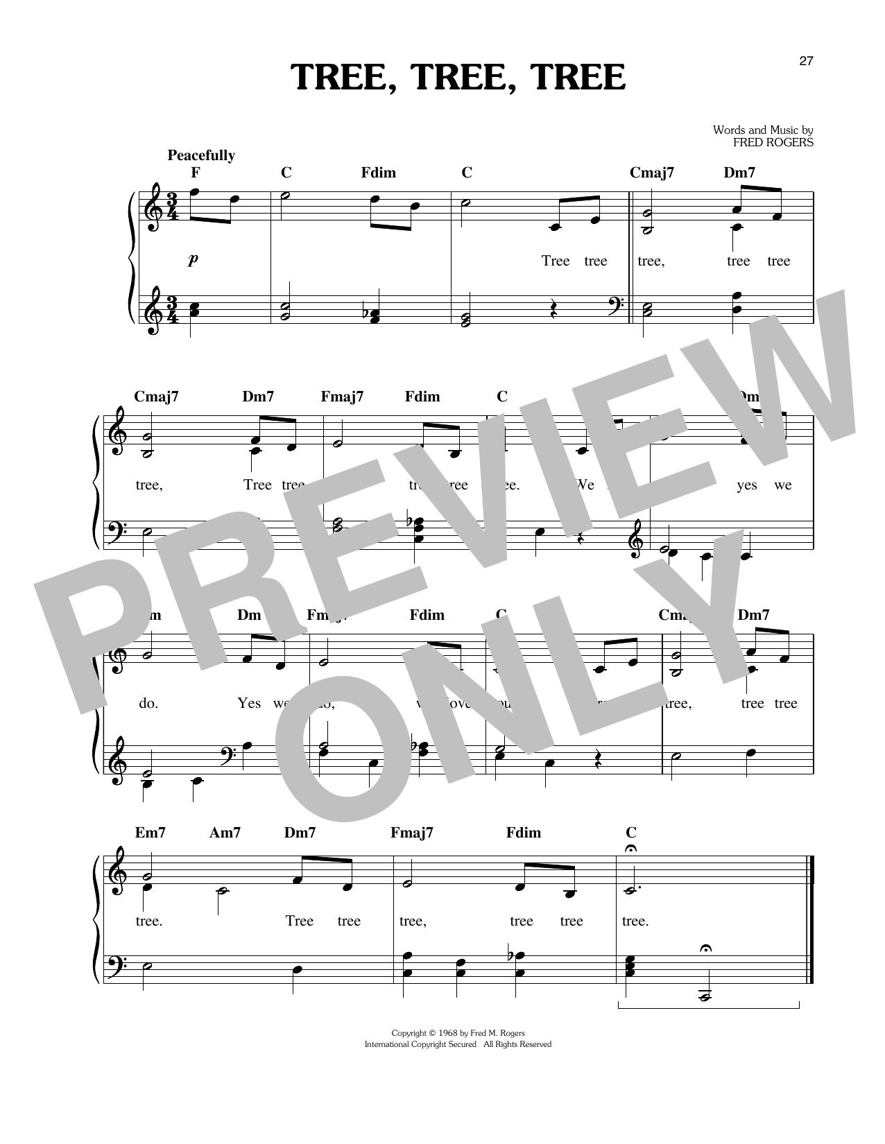 Fred Rogers Tree, Tree, Tree sheet music notes and chords. Download Printable PDF.