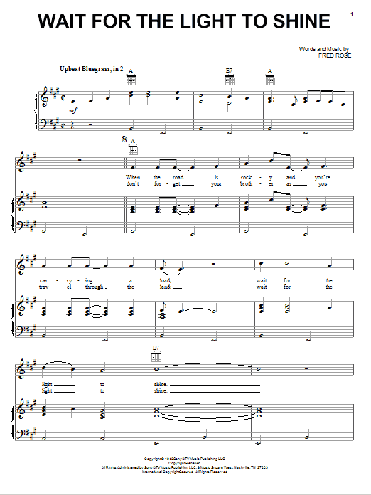 Fred Rose Wait For The Light To Shine sheet music notes and chords. Download Printable PDF.