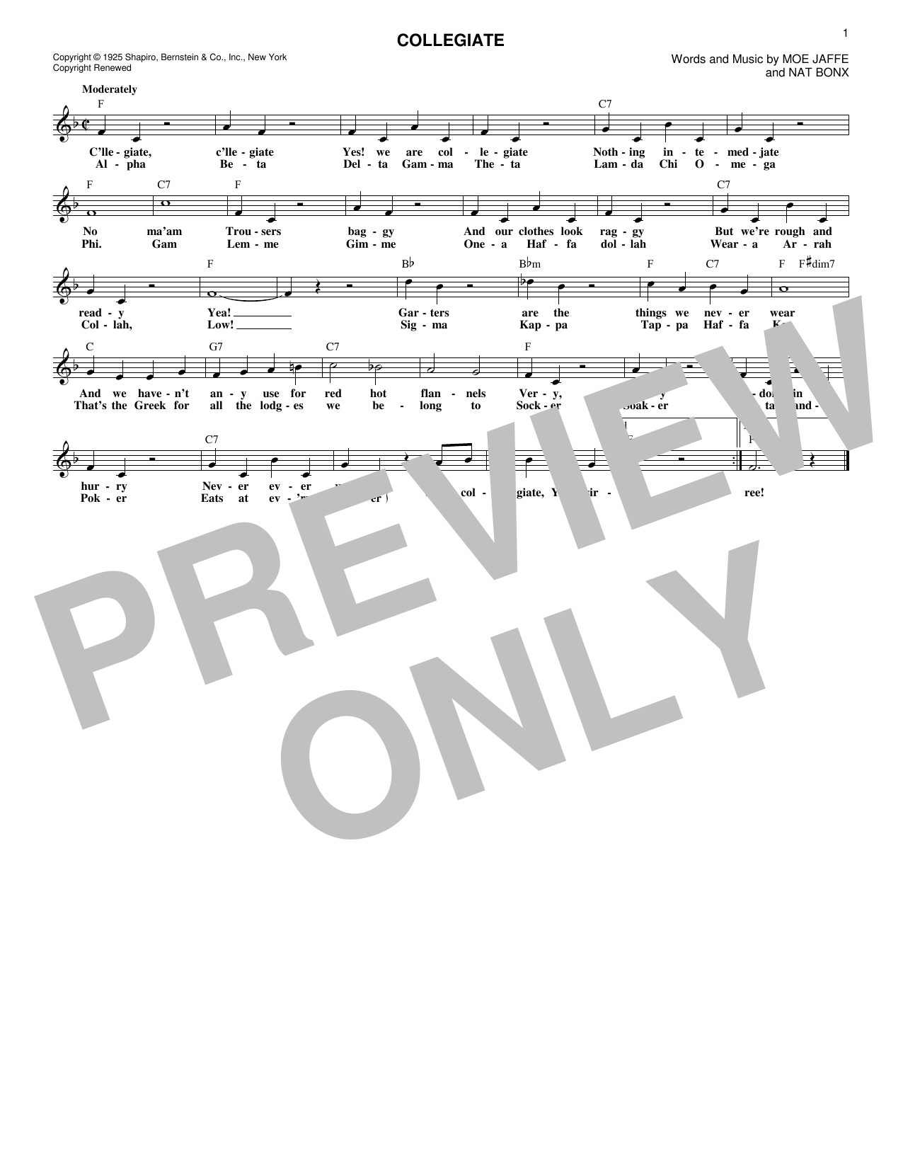 Fred Waring's Pennsylvanians Collegiate sheet music notes and chords. Download Printable PDF.