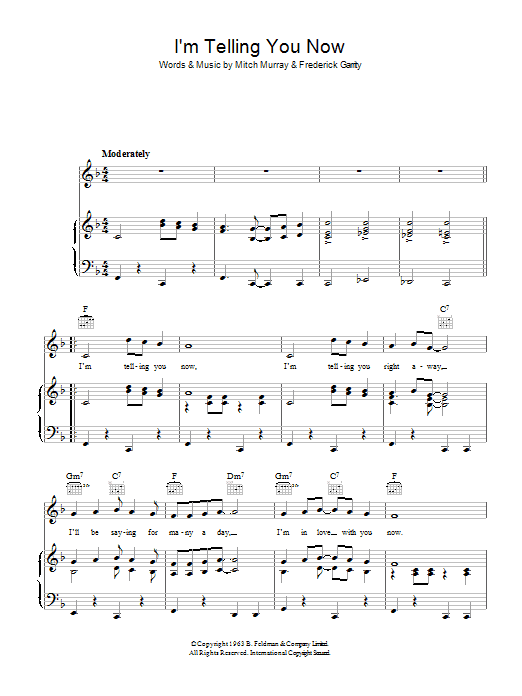 Freddie And The Dreamers I'm Telling You Now sheet music notes and chords. Download Printable PDF.