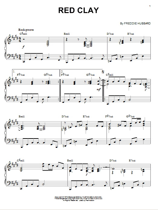Freddie Hubbard Red Clay (arr. Brent Edstrom) sheet music notes and chords. Download Printable PDF.