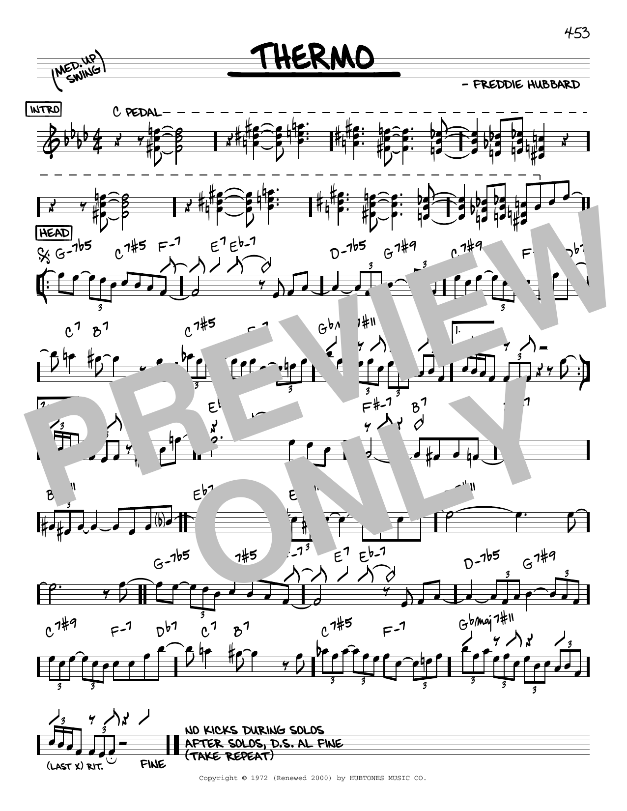Freddie Hubbard Thermo sheet music notes and chords. Download Printable PDF.