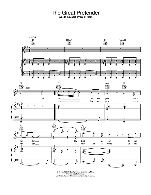 Freddie Mercury The Great Pretender sheet music notes and chords. Download Printable PDF.