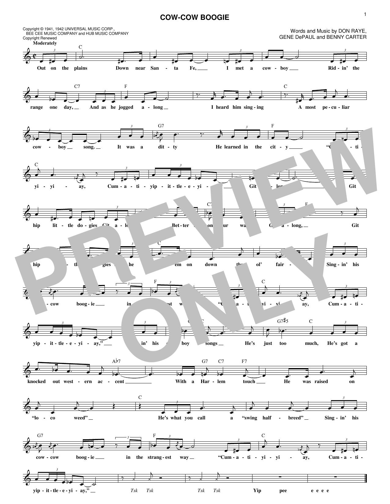 Freddie Slack & His Orchestra Cow-Cow Boogie sheet music notes and chords. Download Printable PDF.