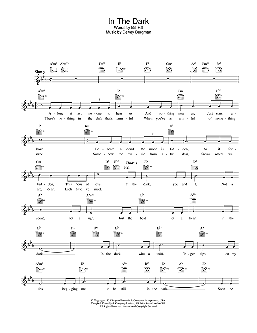 Freddy Martin In The Dark sheet music notes and chords. Download Printable PDF.