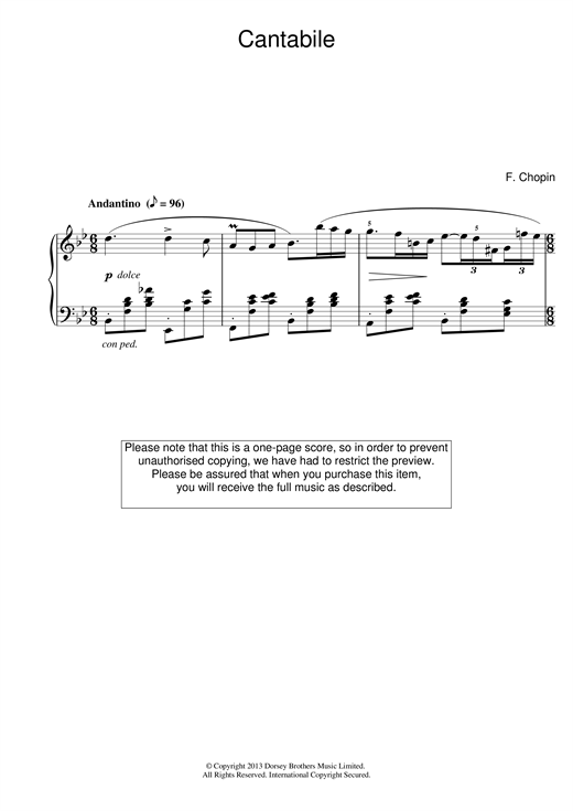 Frederic Chopin Cantabile in B Flat Major sheet music notes and chords. Download Printable PDF.