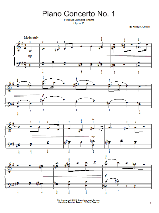 Frederic Chopin Concerto In E Minor sheet music notes and chords. Download Printable PDF.