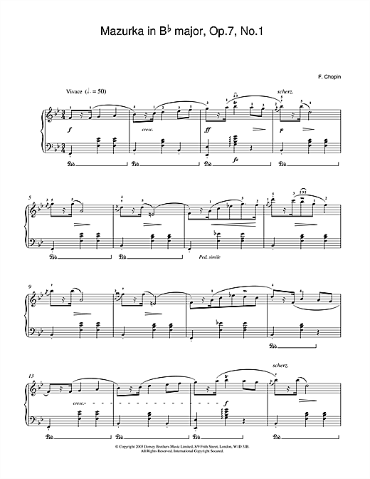 Frederic Chopin Mazurka in B Flat major Op.7 No.1 sheet music notes and chords