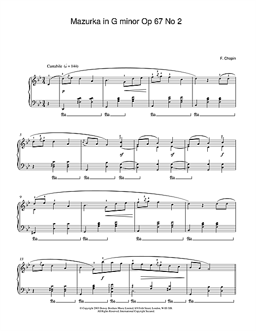 Frederic Chopin Mazurka in G minor Op.67, No.2 sheet music notes and chords